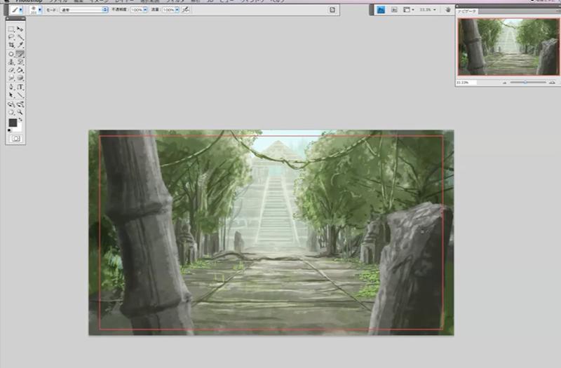 竹のモチーフを描く