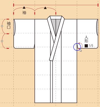 袖口の丈は袖全体の約半分が目安
