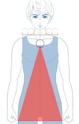 中央の線を底辺として三角形を作る