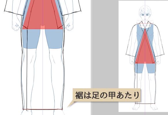 裾の位置は足の甲