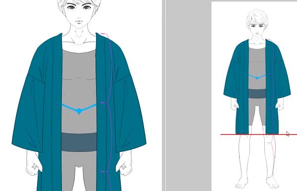 男性の羽織を描く