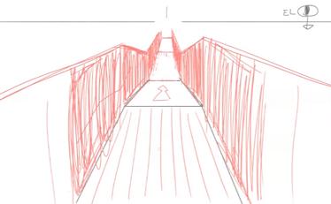 下り坂の周囲を描く
