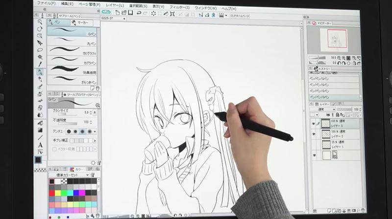 デジタルで描いた漫画の線画
