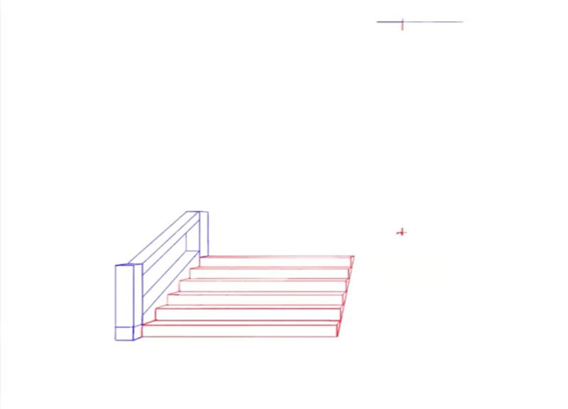 階段の手すりのパース