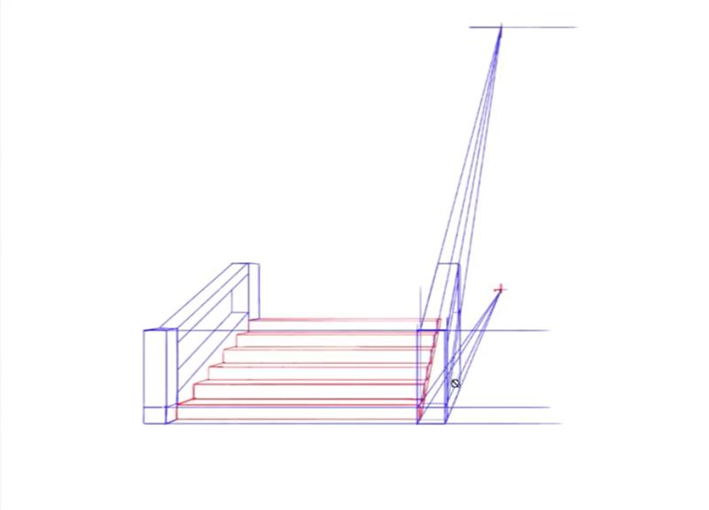 階段の手すりのパース解説