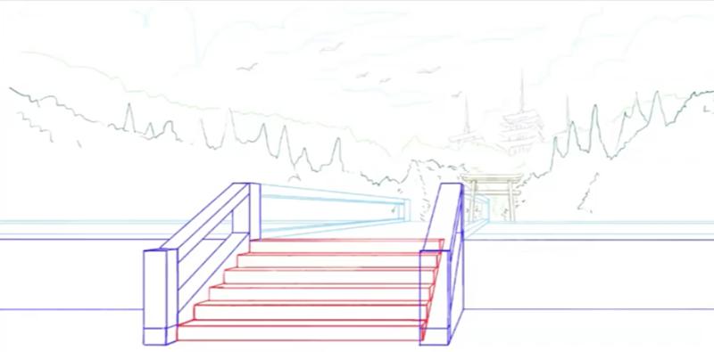 階段と背景を合わせる
