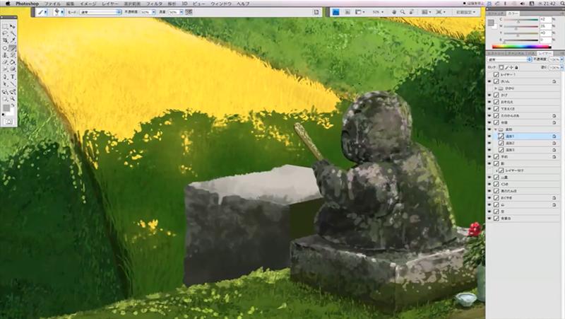 石像の台座の石を描く
