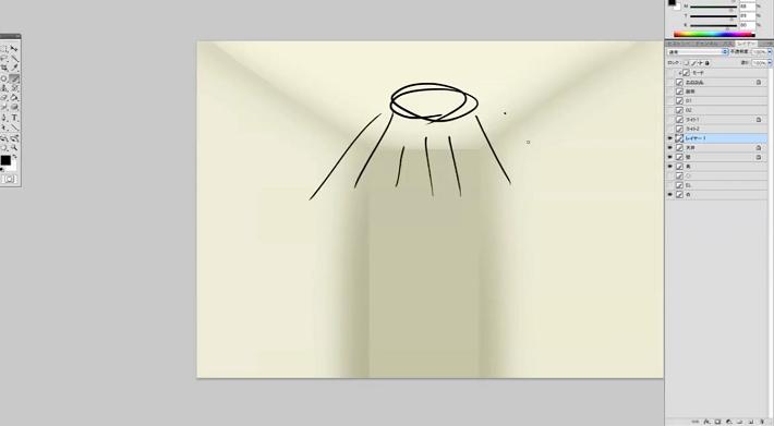 室内の明かりを描く