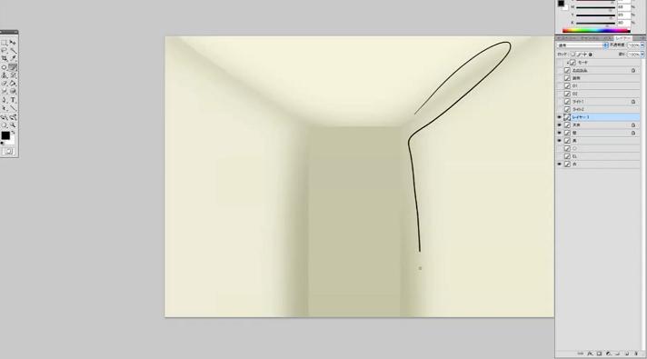 壁の隅に影を置く