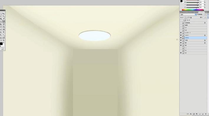 ライトの台座に影を描く