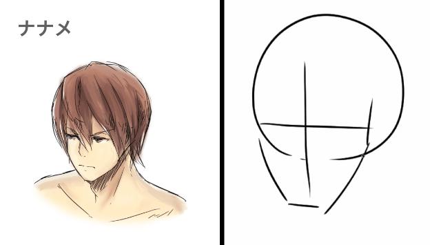 斜め向きの顔のアゴの形