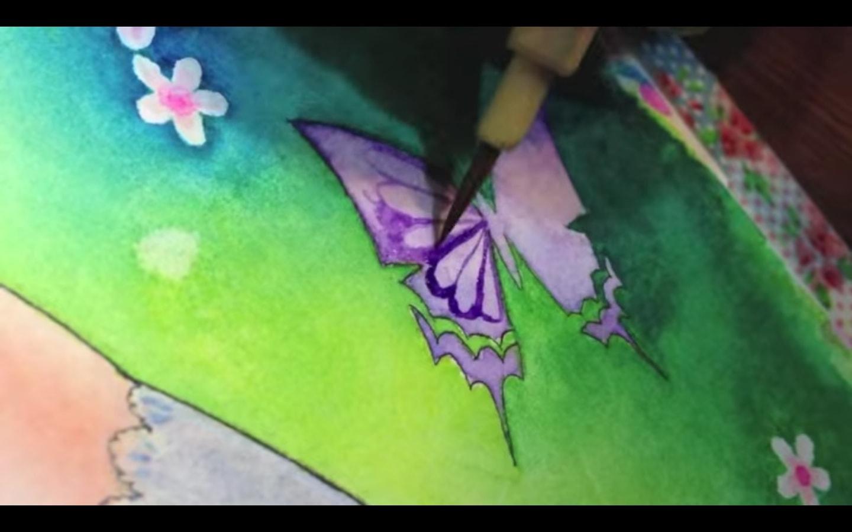 """""""花や蝶に着彩します"""""""