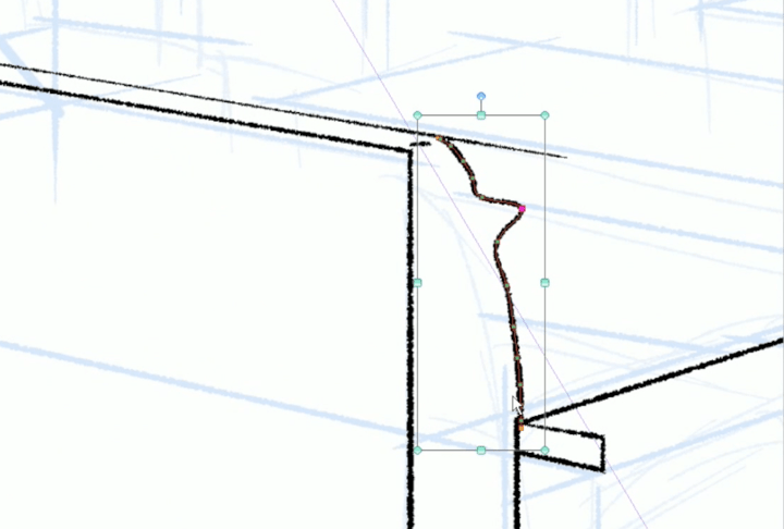 操作ツールでベクター線を選択