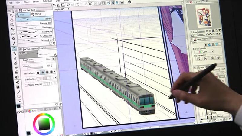 電車の3D素材を背景を書く