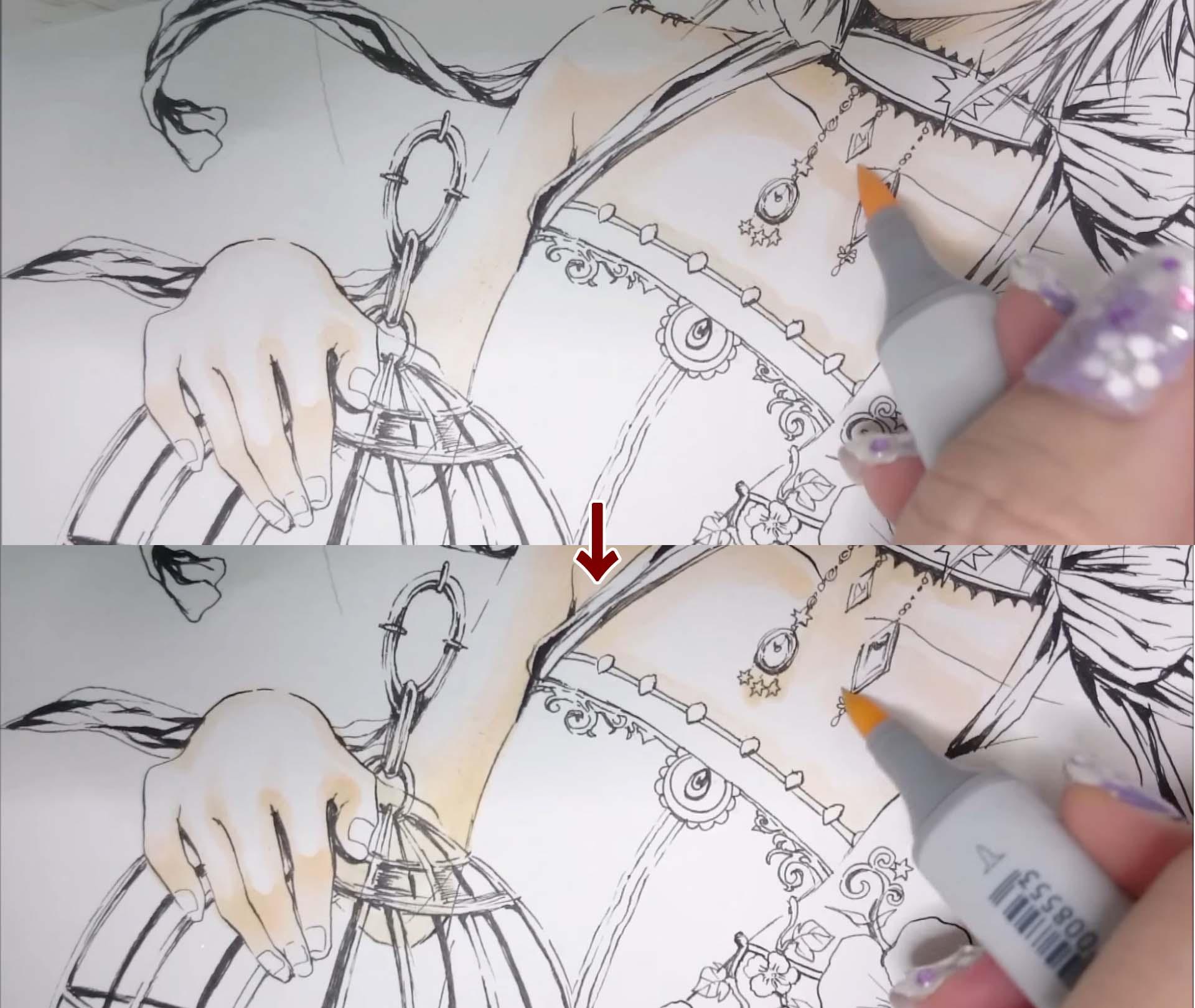 上半身の肌の塗り方