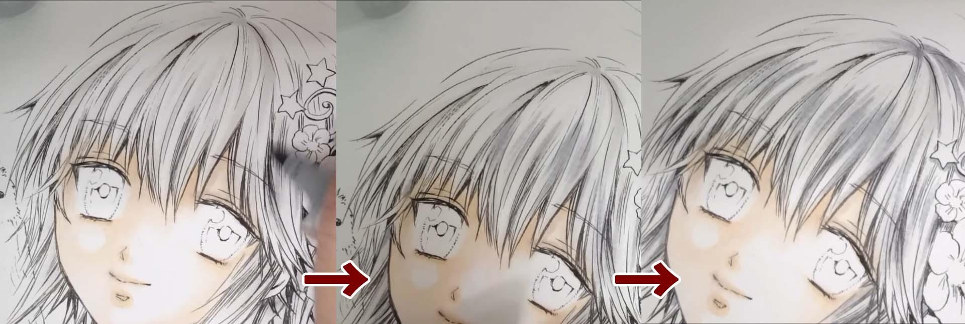 白髪の塗り方、3段階
