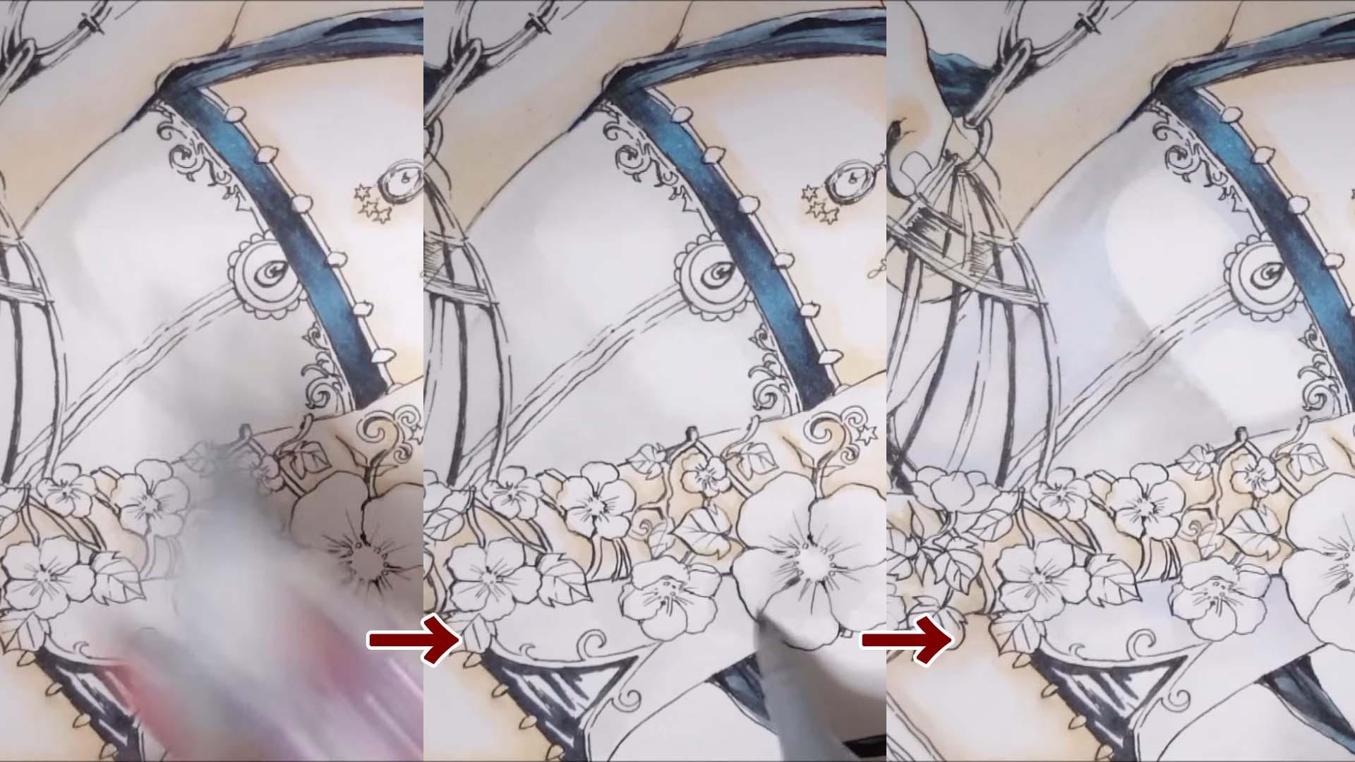 白い服の影はグレーで塗り重ねたら薄紫色  も足してニュアンスを出します