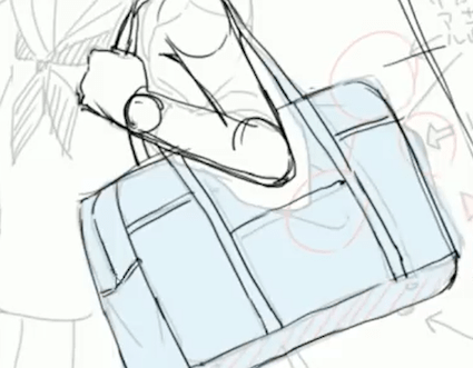 鞄のチャックを描く