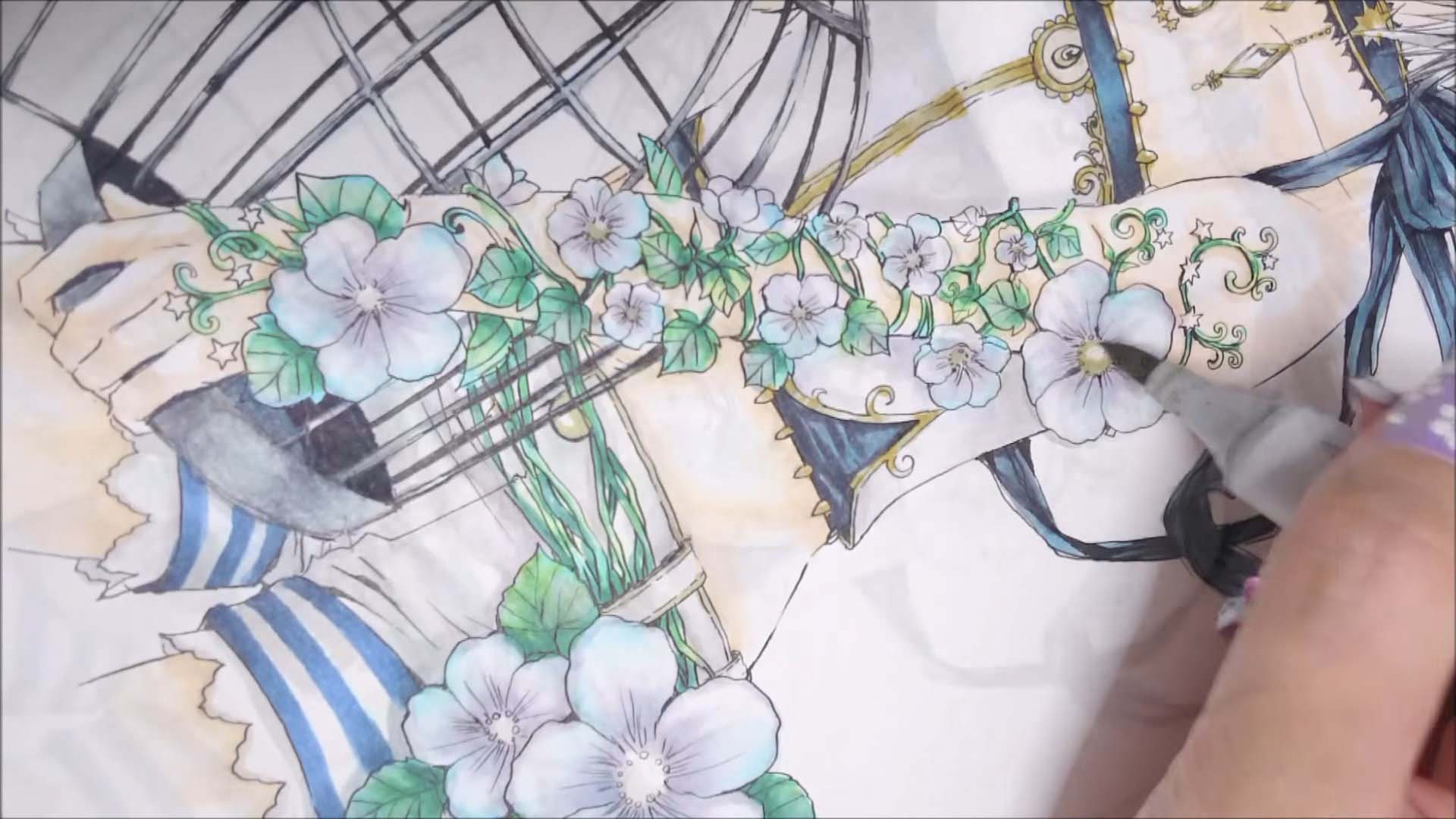 花の中心や服のラインを塗ります