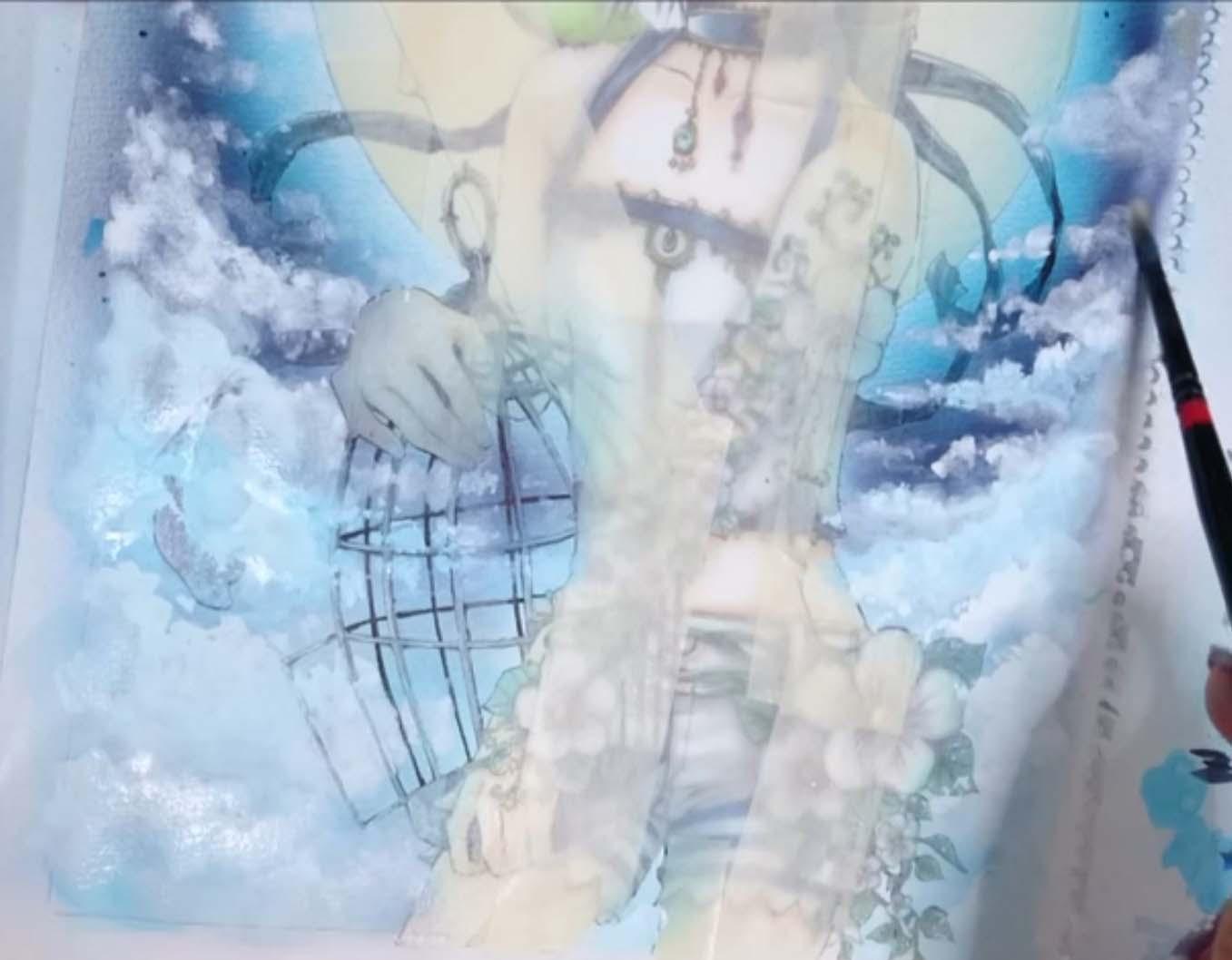 水分を足したり絵具を足したり塗り重ねて雲が完成です