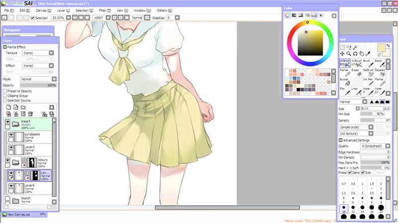 制服のスカートに細かなシワを描く