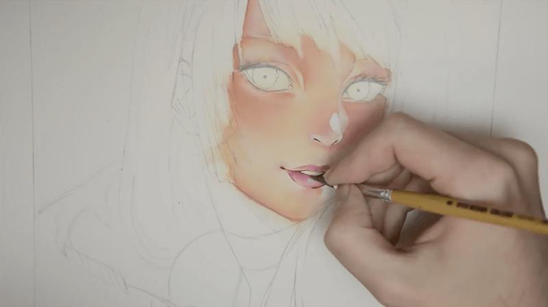 キャラの唇を描く