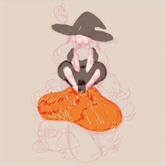 魔女の衣装と大きなキノコの下塗り