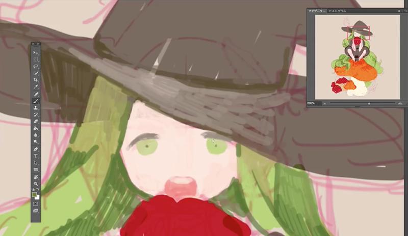 魔女の顔に色を塗る