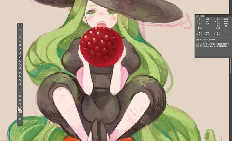 フルーツに描き込んでいく