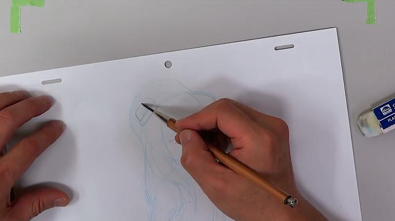 ラフの上から鉛筆で線を描く