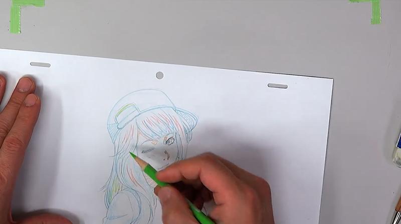 絵の指定を色鉛筆で行う