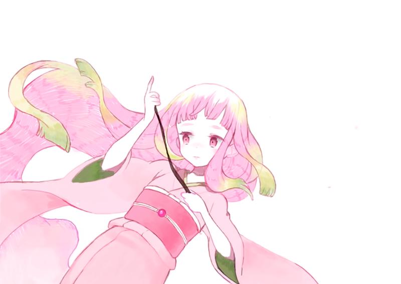 桜の枝を持たせる