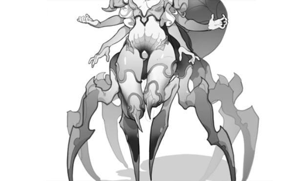 蜘蛛の下半身を描く