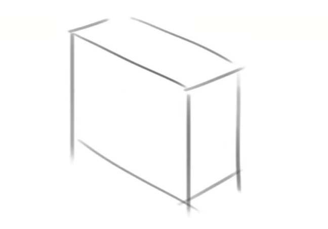 まず直方体を描いてから