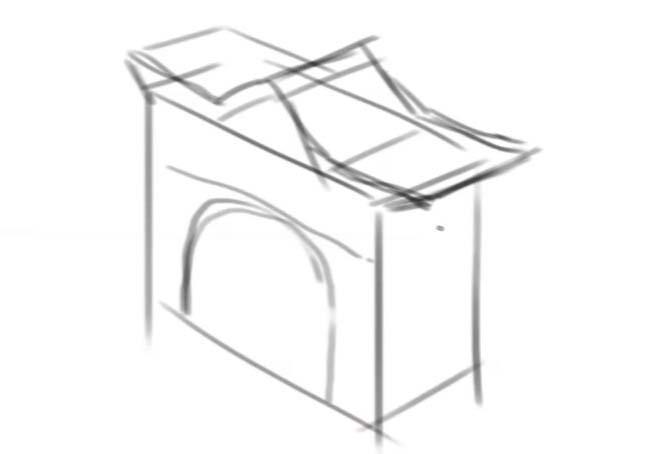 直方体に合わせて屋根を描いて