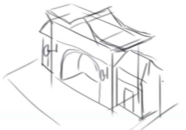 サイドの建物も描きいれます