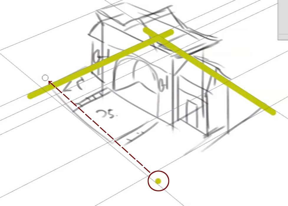 パスを補助線に線を引きます