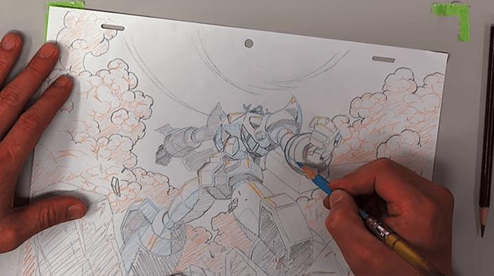 色鉛筆でロボットを描く