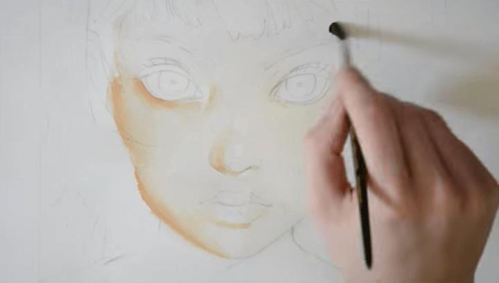 パッツン女の子の肌を塗る