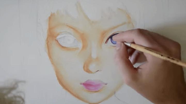 美しい瞳のイラストを描く