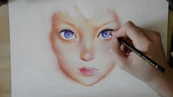 色鉛筆で描く瞳のイラスト