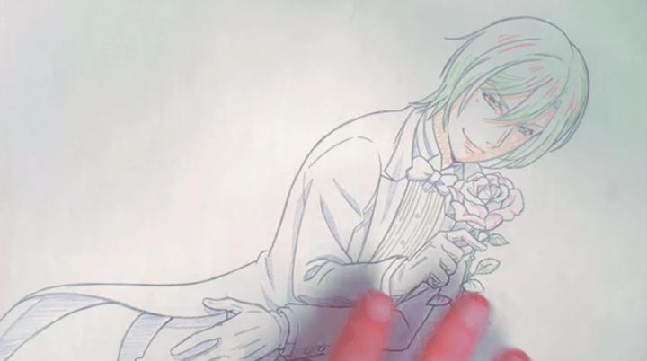 タキシードと薔薇のイラスト