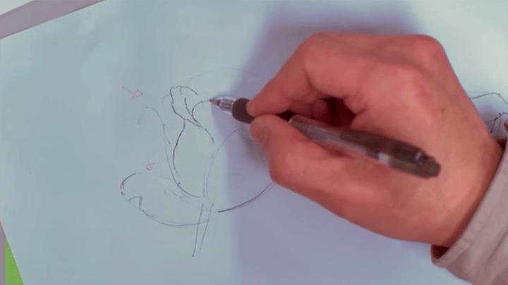 ボールペンで薔薇を描く