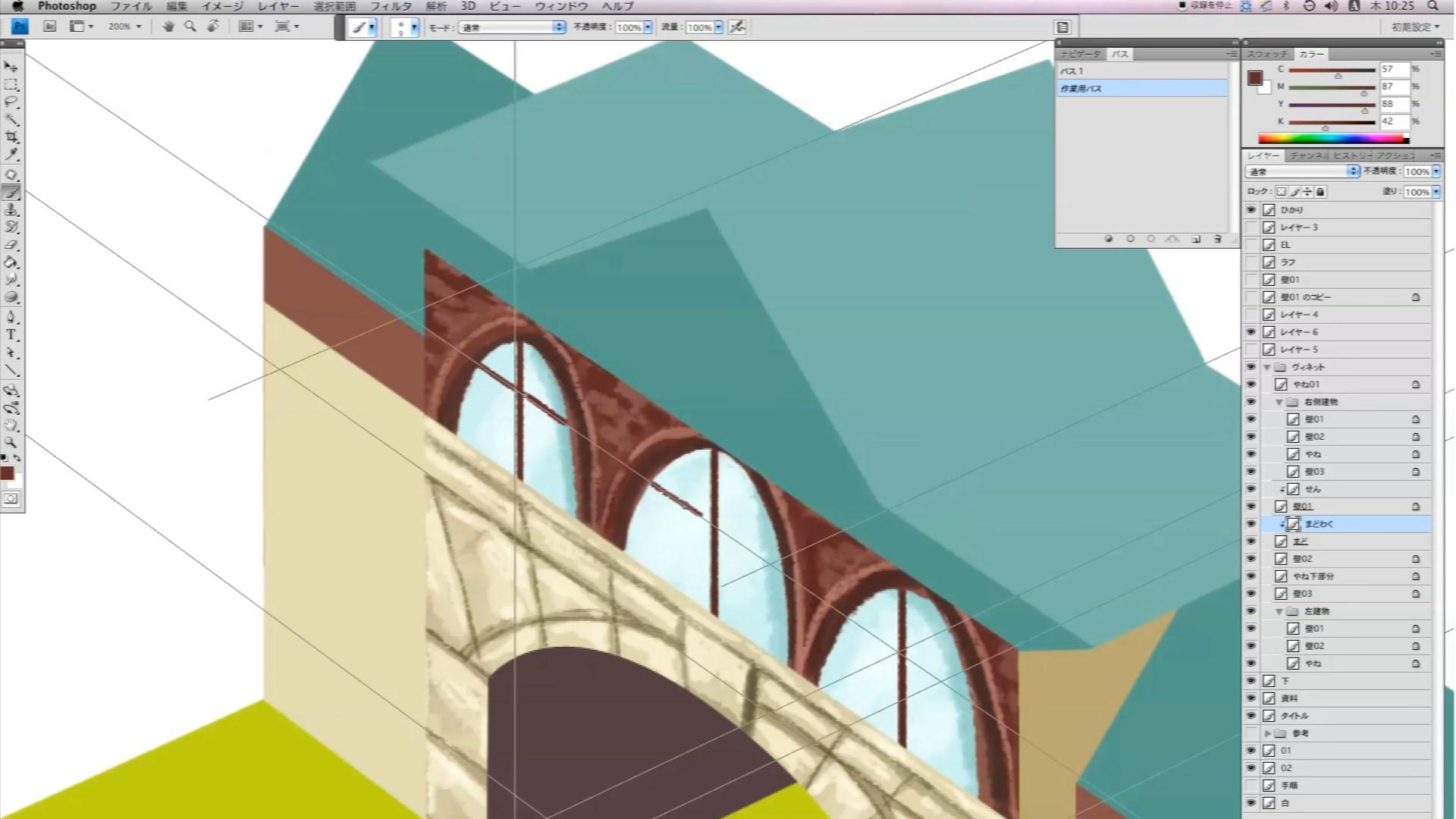 パースに合わせて窓枠を描きいれていきます