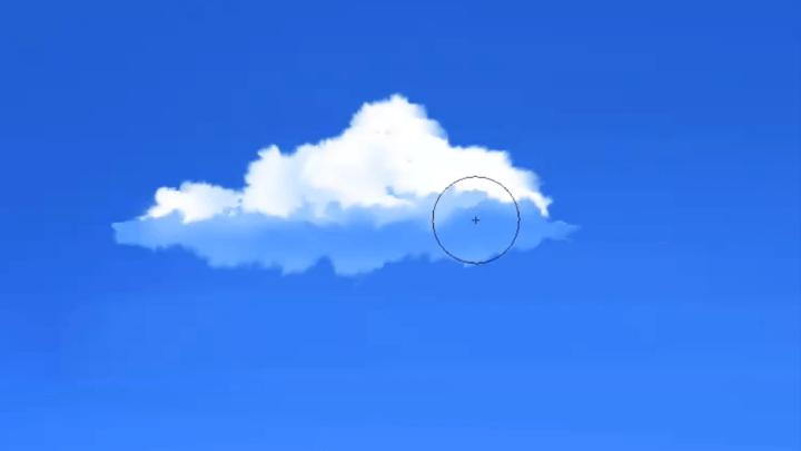 雲の影に反射光を描く