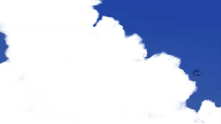雲の輪郭を描く