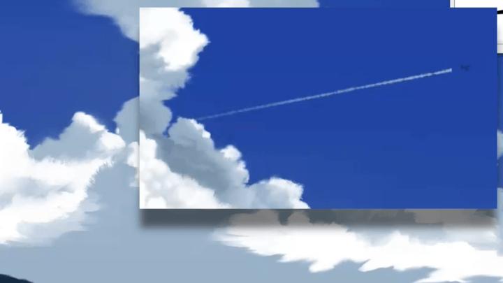 飛行機雲を描く