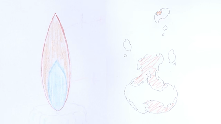 火と炎のイラストの比較