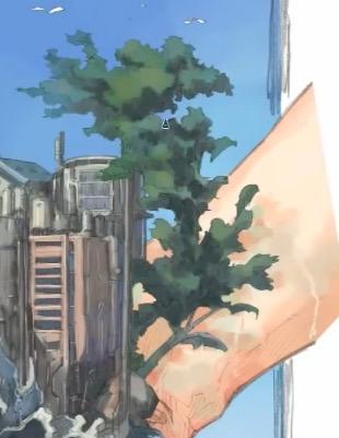 植物の影を描く