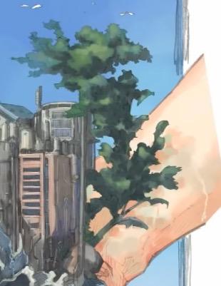 葉っぱの影を描く